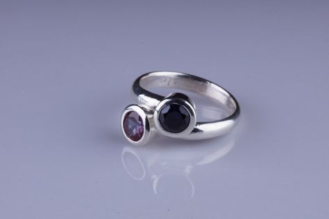 Two-Stone 6mm Round Bezel Bypass Sterling by arkaysilversmiths