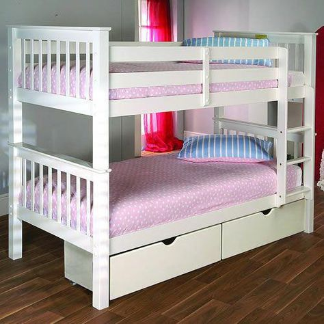 Wooden Bunk Bed Finished In Bright White Can Be Separated Into Two