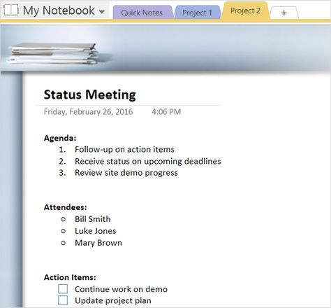 How To Adopt Onenote Templates For Project Management Onenote