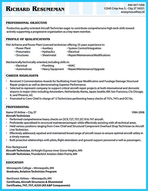 nice excellent ways to make great bartender resume template check aircraft mechanic resume - Aircraft Maintenance Resume Template
