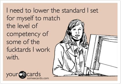 I need to lower the standard I set for myself to match the level of competency of some of the fucktards I work with. | Workplace Ecard
