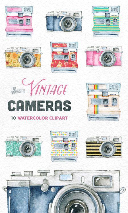Vintage Cameras. 10 Handpainted clipart wedding by OctopusArtis