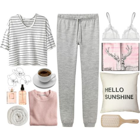 hello sunshine A fashion look from June 2014 featuring striped shirt, long sleeve shirts and jogger sweatpants. Browse and shop related looks. Lazy Day Outfits, Chill Outfits, Casual Outfits, Cute Outfits, Fashion Outfits, Womens Fashion, Summer Outfits, Lounge Outfit, Lounge Wear