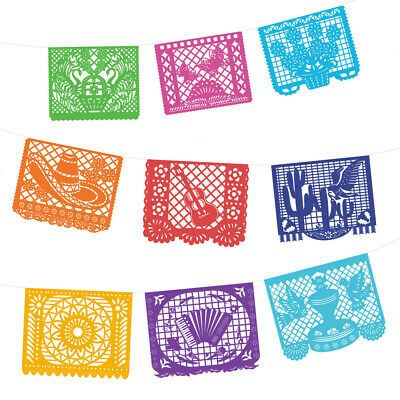 Papel Picado Paper Banner 15 Ft Long Mexican Party Supplies Coco Movie Design Mexican Theme Party Decorations Fiesta Party Decorations Papel Picado Banner