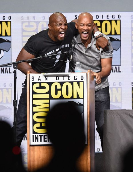 "Actors Terry Crews (L) and Will Smith speak onstage at Netflix Films: ""Bright"" and ""Death Note"" panel during Comic-Con International 2017 at San Diego Convention Center on July 20, 2017 in San Diego, California."