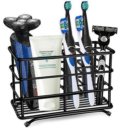 Stainless Steel Rustproof Metal Bathroom Toothpaste Electric Toothbrush Holder