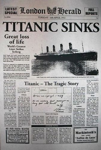Image result for titanic sinks newspaper