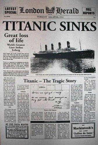 Image result for titanic sinks newspaper