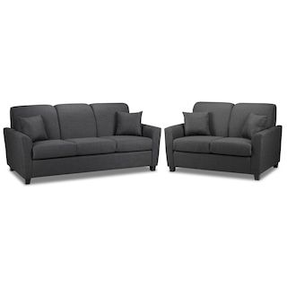 Roxanne Sofa And Loveseat Set Charcoal Sofa Loveseat Set