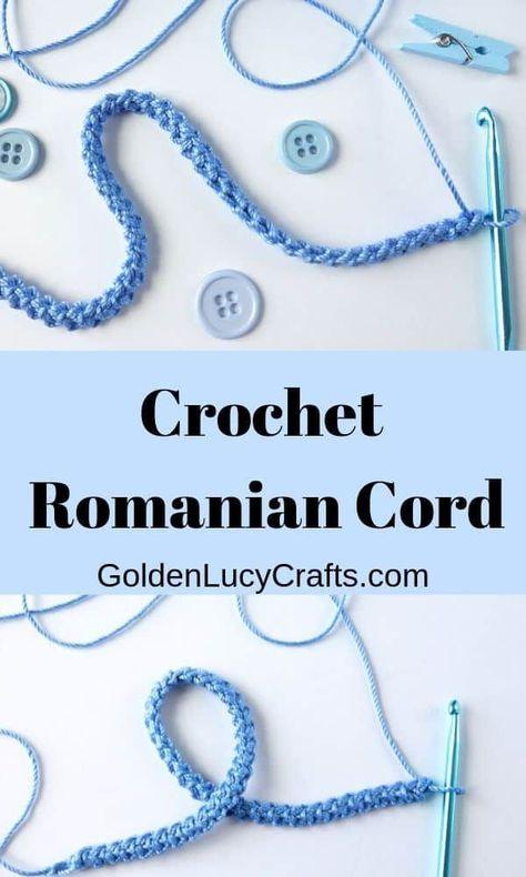 How to Crochet a Romanian Cord - GoldenLucyCrafts Crochet Romanian cord, how to. How to Crochet a Romanian Cord – GoldenLucyCrafts Crochet Romanian cord, how to crochet Romanian Crochet Cord, Freeform Crochet, Crochet Motif, Irish Crochet, Crochet Flowers, Crochet Lace, How To Crochet, Russian Crochet, Doilies Crochet