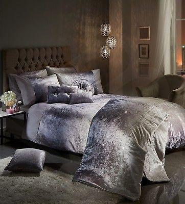 Luxury Crushed Velvet Duvet Cover Set Quilt Bedding Silver Grey Diamante Bling Bed Linens Luxury Luxury Bedding Velvet Duvet