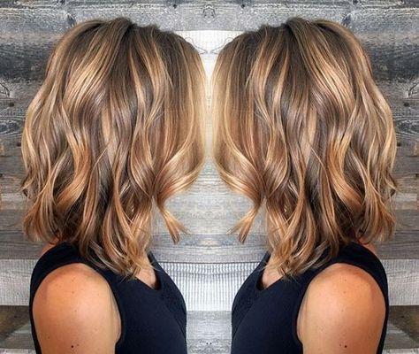 Layered Wavy Lob Hairstyle - Blonde and Light Brown Balayage
