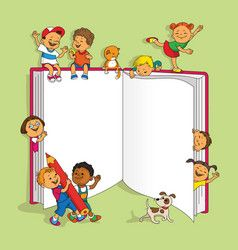 Group Of Children Royalty Free Vector Image Vectorstock Kindergarten Coloring Pages School Wall Art Teacher Cartoon