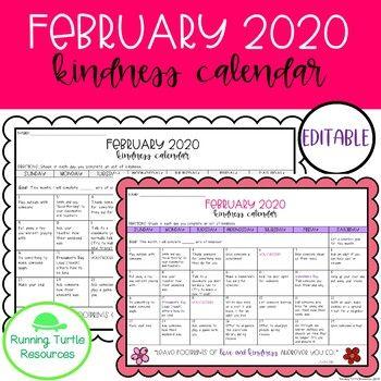 Kindness Calendar 2021 February Kindness Calendar *Editable*   Updated for 2021 in 2020