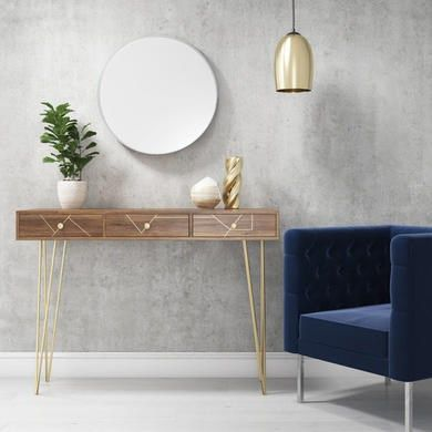 Solid Wood Storage Dressing Table With Brass Inlay 3 Drawers Tahlia Range Furniture123 Solid Wood Storage Narrow Console Table Furniture 123