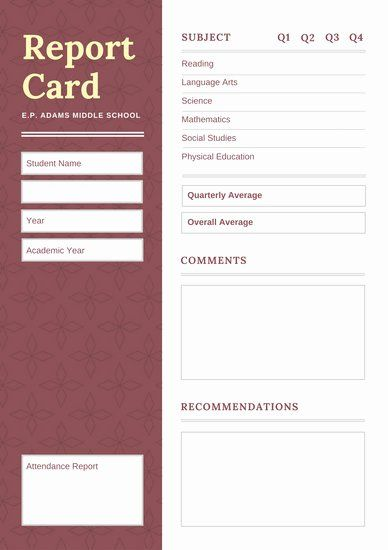 Social Media Report Card Template Awesome Red Middle School Report Card Templates By Can School Report Card Report Card Template Social Media Calendar Template