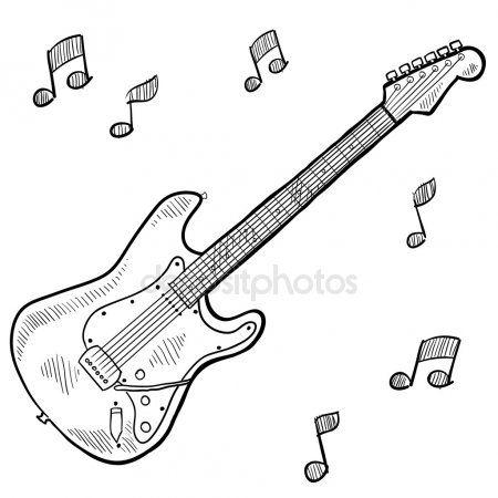 Dibujo De Guitarra Electrica Vector Stock C Lhfgraphics 14136049 Guitar Drawing Guitar Guitar Sketch