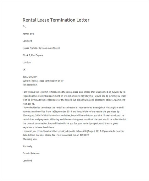 free new york lease termination letter form days pdf word eforms - lease termination letter example