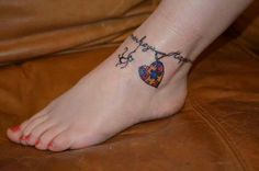 Autism tattoo- name anklet with heart charm #rosaryfoottattoos Autism tattoo- name anklet with heart charm