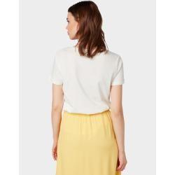 Tom Tailor Damen T-Shirt mit Print, weiß, unifarben mit Print, Gr.xxl Tom TailorTom Tailor