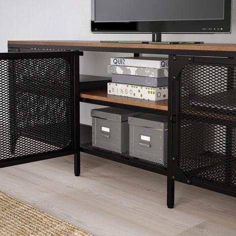 Computer En Tv Meubel.Fjallbo Tv Meubel Zwart 150x36x54 Cm Tv Bank Meubels En Ikea