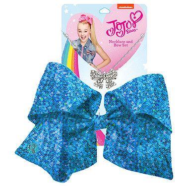 JoJo Siwa Signature Sequin Bow And Necklace Set - Blue