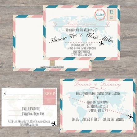 33 Ideas Wedding Invitations Travel Theme Design Travel Theme