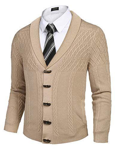 COOFANDY Men's Shawl Collar Cardigan Sweater Casual Relax