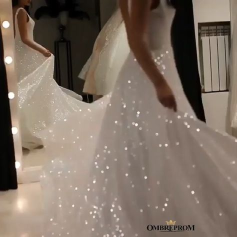 Sparkly V-neck Backless Wedding Gown, Sequins Prom Dress #glitterweddingdresses #sequinpromdresses #sequinweddingdresses #blingbling #wedding #prom #backlessweddingdresses #promdressesbackless