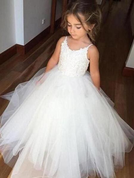 Pretty Spaghetti Strap Lace Top Tulle Hot Sale Flower Girl Dresses For Wedding Party, SW0005 Pretty Spaghetti Strap Lace Top Tulle Hot Sale Flower Girl Dresses For Wedding Party, SW0005