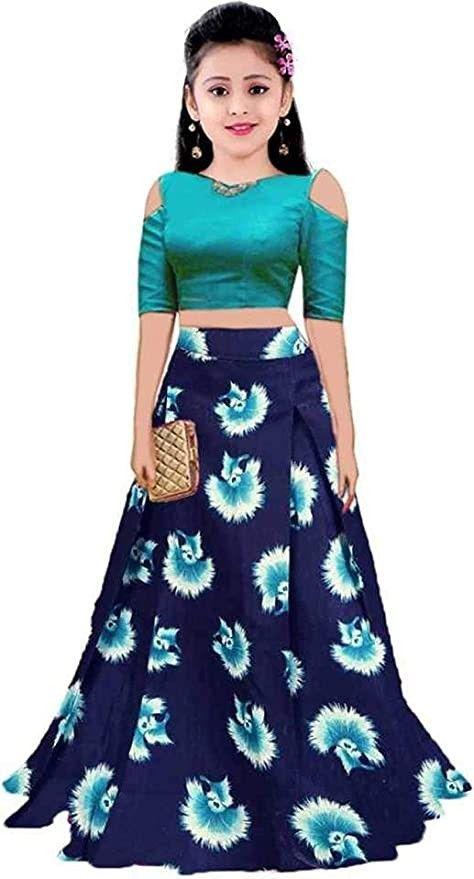 Girls Satin Lehenga Choli Cs K Sky Blue Print Navy Blue In 2020 Girl Fashion Baby Dress Patterns Fashion