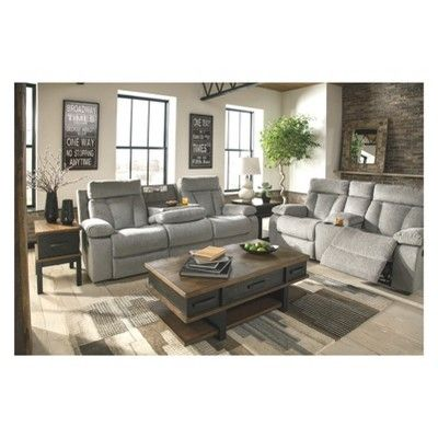 Mitchiner Reclining Sofa With Drop Down Table Light Gray Signature Design By Ashley Adult Unisex Reclining Sofa Furniture Ashley Furniture Sofas