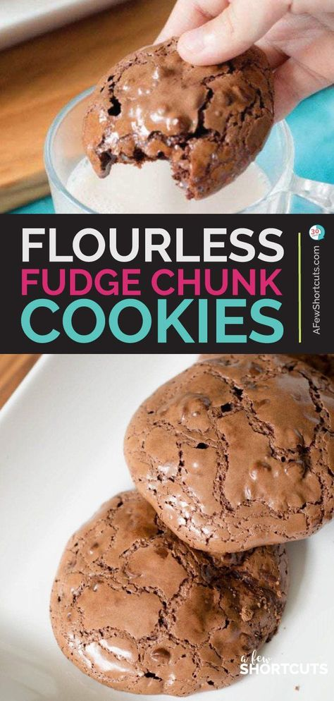 These are possibly the best gluten free, dairy free cookies of all time. You have to try this Flourless Fudge Chunk Cookies Recipe! AMAZING! | @AFewShortcuts #recipes #cookies #glutenfree #dairyfree #chocolate #cookierecipes #dairyrecipes