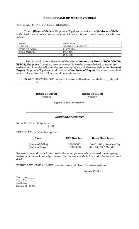 Deed Sale Motor Vehicle Template Claim Form Pdf Word Eforms Free - sample motorcycle bill of sale