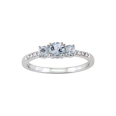 Jewelry Aquamarine And Diamond 3 Stone Ring In 10k White Gold Womens Jewelry Rings Stone Rings 3 Stone Rings