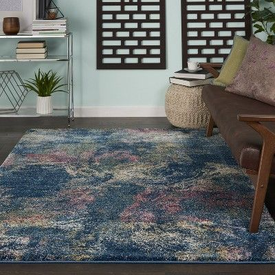 Fss17 Blue Pink Yellow Colored Area Rug