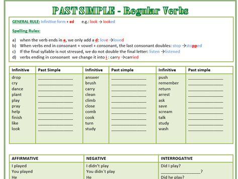 Past Simple - Regular Verbs Worksheet - Affirmative, Interrogative, Negative