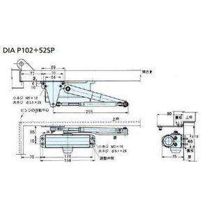 代替ドアクローザー 静か ストップあり Dia Ps103 53sp用 大鳥機工