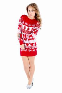 Ladies Xmas Christmas Jumper Womens Tunic Fairisle Novelty Sweater ...