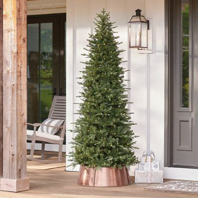 Pre Lit Porch Tree Grandin Road In 2020 Porch Trees Outdoor Christmas Tree Decorating With Christmas Lights