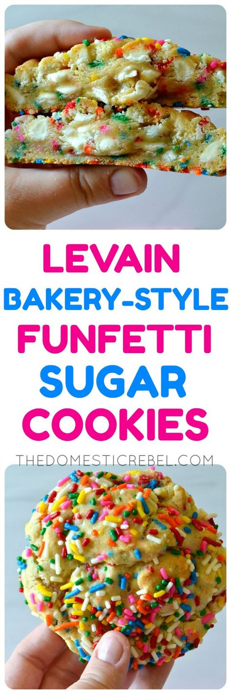 These Levain Bakery-Style Funfetti Sugar Cookies are insanely delicious! Inspired by the thick and gooey cookies from the famed NYC bakery, these are huge, ultra gooey and packed with cake batter flavor! Cake Batter Cookies, Gooey Cookies, Drop Cookies, Sugar Cookies, Cookies Nyc, Giant Cookies, Stuffed Cookies, Gourmet Cookies, Filled Cookies