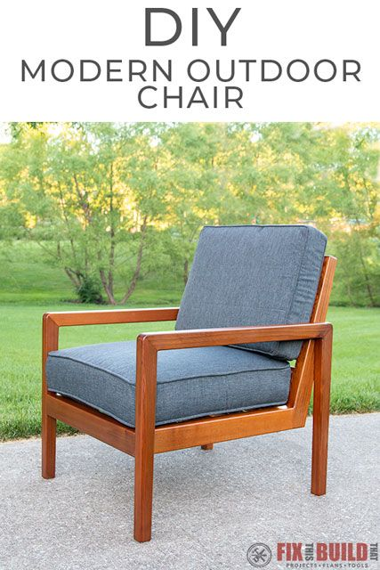 This chair DIY Modern Outdoor Chair would look so good on my porch!  And it's made from only cedar 2x4's and 1x4's.  Great outdoor furniture addition! #diyfurniture #outdoorfurniture