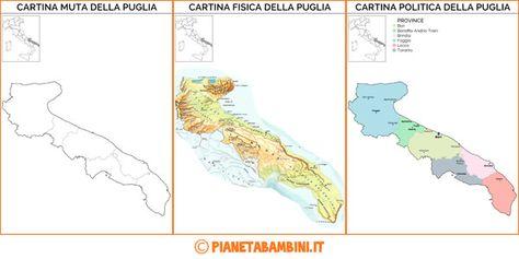 Cartina Del Piemonte Politica.Cartina Muta Fisica E Politica Della Puglia Da Stampare