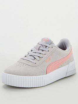 Puma Carina Junior Trainers - Grey/Pink