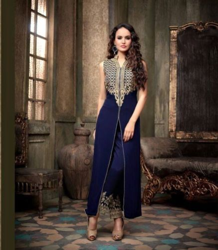BRIDAL-BLUE-Anarkali-Salwar-Suit-w-Long-Kurta-Evening-Heavy-Party-Wear-Dress