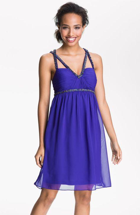 Purple Beaded Cross Strap Chiffon Dress