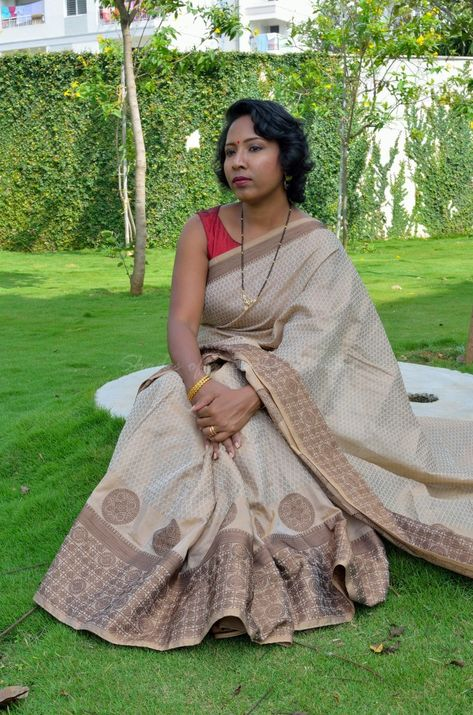 Beige and Coffee Brown Silk Cotton Saree from Palam Silks
