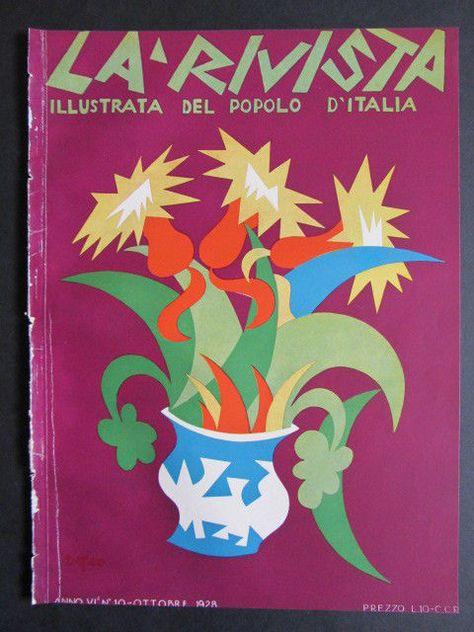 FORTUNATO DEPERO futurismo 1928 cover grafica d autore RIVISTA POPOLO D ITALIA