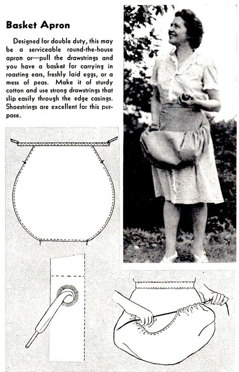 How to Sew a Basket Apron - Vintage Crafts and More (Great idea! - How to Sew a Basket Apron – Vintage Crafts and More (Great idea! Sewing Hacks, Sewing Tutorials, Sewing Crafts, Sewing Tips, Dress Tutorials, Crafts To Sew, Fabric Crafts, Sewing Ideas, Techniques Couture
