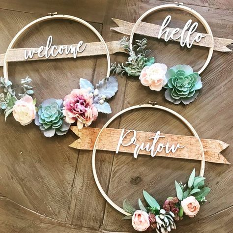 12in Succulent Wreath with Family Name or Custom Greeting